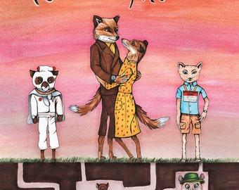 Fantastic Mr. Fox Movie Poster - PRINT of an original drawing/illustration