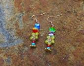 Millefiori earrings, Boho earrings, multi colored earrings summer fun earrings, colorful earrings, free spirited earrings, Fiesta earrings