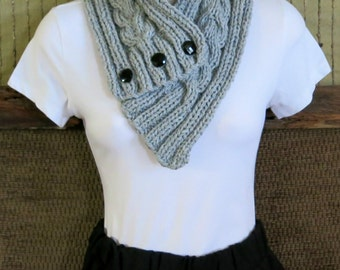 Cowl Scarf, Womens Knitted Chunky Cable Neckwarmer, Grey Winter Wool Neck Shawl, Nchanted Gifts, Australia