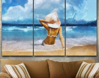 Life's A Beach Canvas Gallery Wrapped Painting Wall Decor Triptych