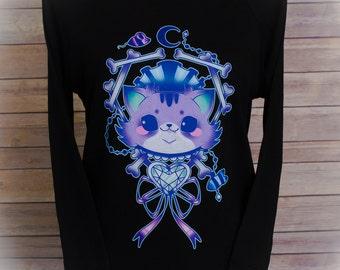 Black Eyed Kitty Bones Pastel 3/4 Sleeve Wide Neck Sweatshirt