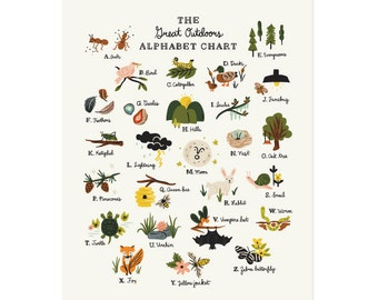 The Great Outdoors Alphabet Chart - 11x14 Art Print