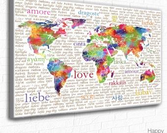 World map typography art pink aqua turquoise world map colourful world map typography love art print bright multicolour wall art love in gumiabroncs Choice Image
