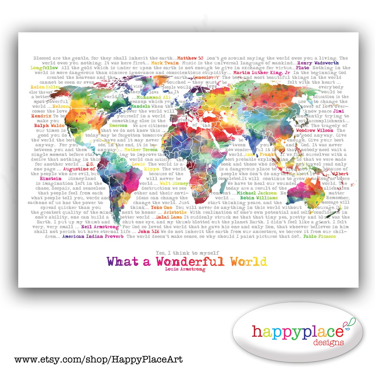 Wonderful World Map Poster Art Artistic World map.