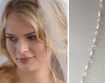 Beaded Bridal Veil, Crystal Wedding Veil, 1 Layer Veil, White Veil, Ivory Veil, Elbow Length Veil, Fingertip Length Veil ~VB-5032