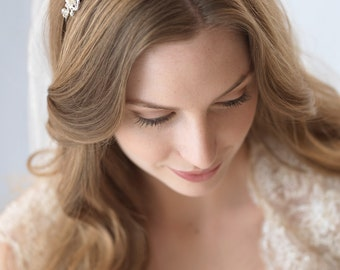 Freshwater Pearl Bridal Headband, Floral Wedding Headband, Bridal Hair Accessory, Pearl Bridal Headpiece, Rhinestone Bride Headband ~TI-3083