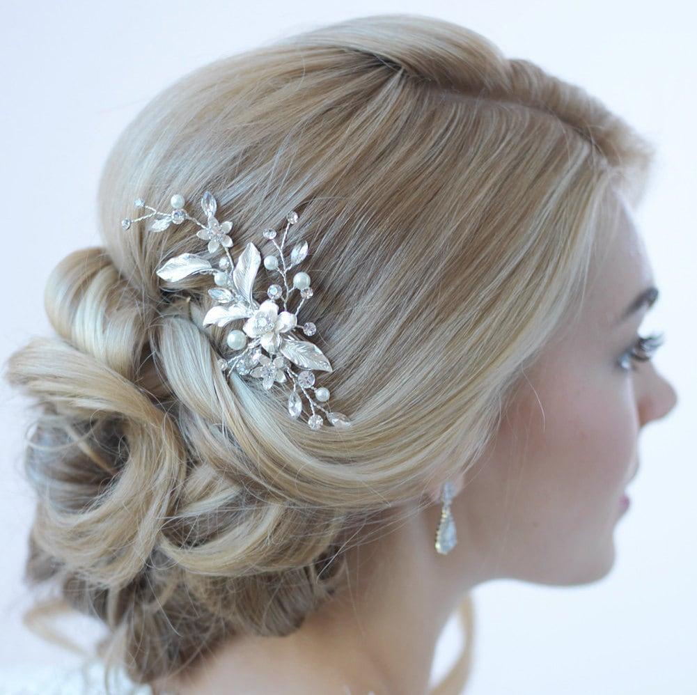 Hair Clips For Wedding: Floral Bridal Hair Clip Bridal Hair Accessory Pearl
