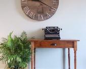 "30.5"" Rustic Horizontal Wide Plank Pine Clock"