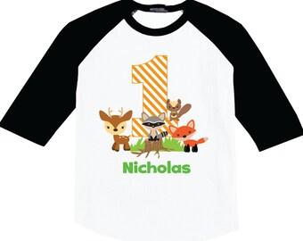 1st Birthday Shirts with Woodland on a Raglan shirt