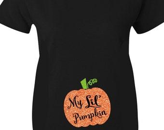 Pumpkin Halloween Maternity Shirts, My Lil Pumpkin Glitter Maternity Shirts for Halloween In Black