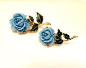 Vintage Blue Rose Scatter Pins, Carved Cellulose, Enamel, Something Blue, Something Old