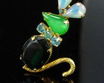 Whimsical MOUSE Brooch Jelly belly Vintage Rhinestone Mice Jeweled green Figural Animal Jewelry