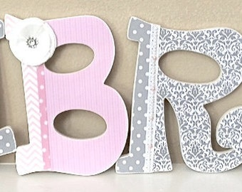 Custom Nursery Letters- Pink & Gray- Girl Nursery- Personalized Wall Art- Baby Name- Wall Letters- Wooden Hanging Letters- The Rugged Pearl