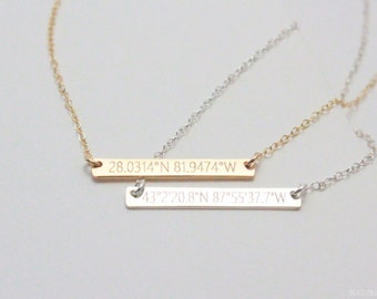 GPS Coordinates Necklace - Hand-Hammered Bar - Personalized Bar Necklace - Custom Horizontal Bar - Sterling Silver - 14K Rose/Gold-Filled