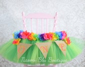 Hawaiian Luau Grass Skirt Tutu High Chair for Birthday. Hawaii Party Decoration,Tulle Table Skirt, Tulle Highchair Tutu Cake Smash First 1st