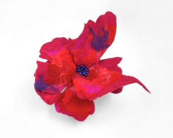 Felted Brooch Designer Brooch Nunofelt Brooch red ruby burgundy poppy silk flower wool