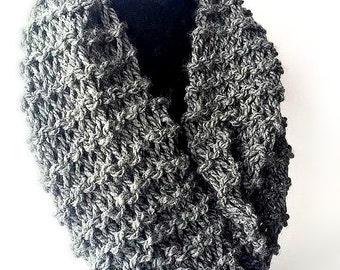 Knit Charcoal Gray Infinity Scarf - Knit Infinity Scarf - Knit Scarf - Chunky Scarf - Circle Scarf - Winter Scarf -  Chunky Knit Scarf