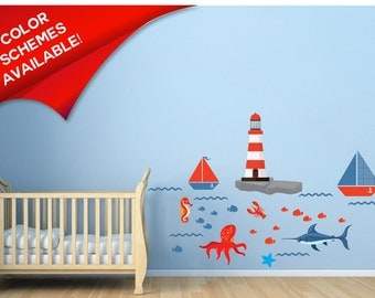 Lighthouse Decals   Boat Decals   Fish Decals   Ocean Wall Decals    Nautical Wall Decor Part 56