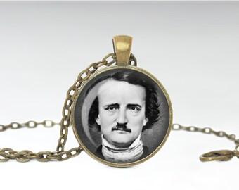 Edgar Allen Poe Necklace, Dark Poet Jewelry, Poetry Pendant [B26]
