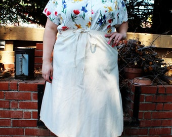 Plus Size Vintage Beige Crinkled Fabric A-Line Skirt Size