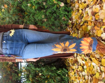 patchwork sunflower jeans,high waist, bell bottom festival clothing