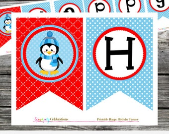 Penguin Birthday Banner, Instant Download, DIY Printable Banner, Photo Prop, Penguin Birthday, Penguin Party Banner, Penguins, Red Blue