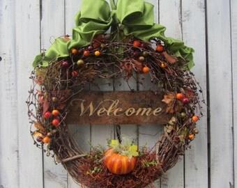 Fall Wreath - Door Wreath - Autumn Wreath - Pumpkin Wreath - Fall Berry Wreath - Grapevine Wreath - Pumpkin Fall Door - Halloween Wreath