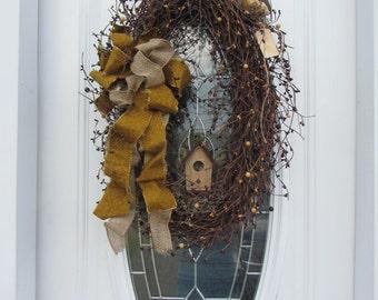 Year Round Wreath, Birdhouse Wreath, Berry Wreath, Primitive Wreath, Autumn Wreath, Country Wreath, Oval Grapevine  Wreath