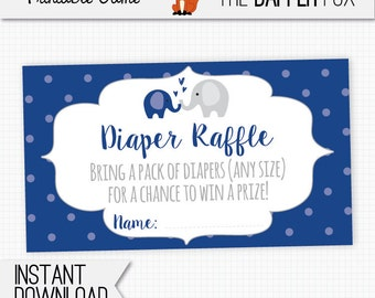 Diaper Raffle Navy Elephant Raffle Ticket Baby Shower insert card - printable - Gender Neutral Baby Boy Navy Blue and Grey Cute Elephant