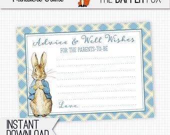 Peter Rabbit Baby Shower games Advice Cards - printable - Beatrix Potter Advice and wishes for baby shower Baby Boy Blue