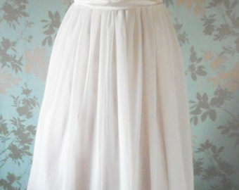 wedding dress white layered chiffon over satin skirt pleated sequin pearl trimmed shaped padded corset top size uk10 and usa size6