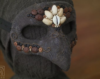 Bird Mask with Bead Decorations - Papier maché - Eco