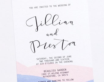 Pantone Color of the year 2016 ROSE QUARTZ & SERENITY Watercolor Dipped Wedding Invitation, Invite Suite