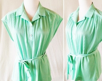 Vintage Marty Gutmacher 60s Ribbed Green Blouse. Medium