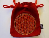 LoopyQ Red Flower of Life Suede Leather Pouch
