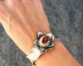 Flower Cuff Bracelet - Fire Opal Cuff Bracelet.