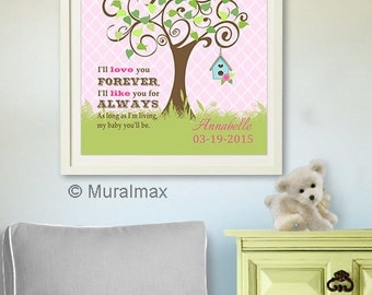I love you foreverI like you for always Inspirational Quote Tree Nursery Art Print - Pink and Green Baby Girl Room Decor