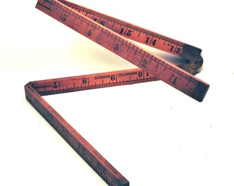 "Stanley Sweet Heart #61A Folding 24"" Boxwood Ruler Vintage Woodworking Tool"