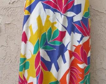Vintage 1980's multicolor leaf print cotton midi skirt size 10 hipster retro boho