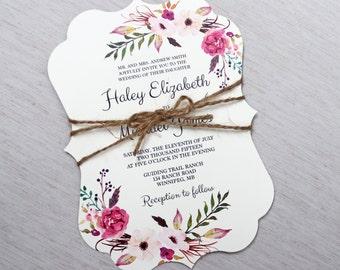 Boho Wedding Invitation, Floral Wedding Invitation, Modern Wedding Invitation, Floral, Shabby Chic Wedding Invitation, PRINTABLE