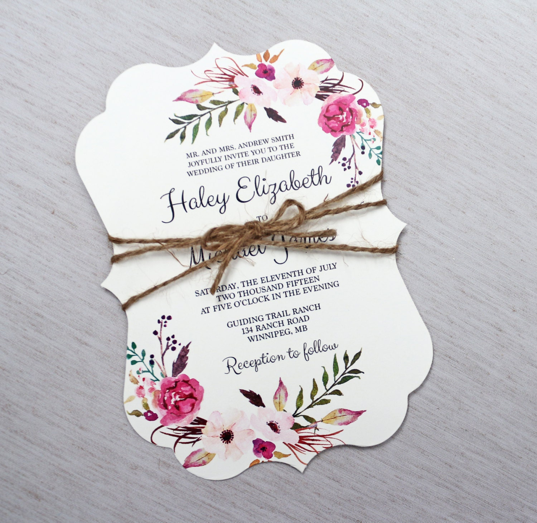Bohemian Wedding Invitations: Boho Wedding Invitation Floral Wedding Invitation Modern