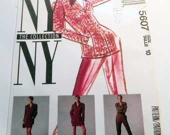 """1990s NY NY Collection Below hip Jacket Straight Skirt Tapered leg stirrup pants McCalls 5607 Size 10 Bust 32.5"""" UNCUT"""