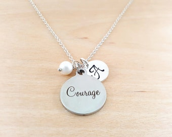 Courage Necklace - Inspirational Necklace -  Swarovski Birthstone - Personalized Gift - Initial Necklace - Sterling Silver Jewelry - Gift