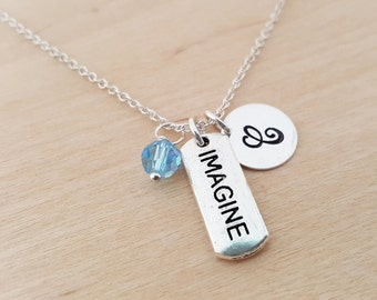 Imagine Necklace - Swarovski Birthstone - Initial Necklace - Personalized Necklace - Sterling Silver Necklace - Gift for Her