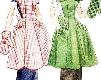 Simplicity 4092 Vintage 1950s Full Apron and Mitt with Floral Transfer Embroidery Sewing Pattern