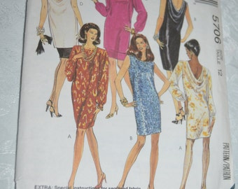 McCalls 5706 Misses one and two piece Dress Sewing Pattern - UNCUT - Sizes 12