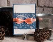Navy Lace Wedding Invitation, Rustic Wedding Invitation, Navy and Peach Wedding, Rustic Lace Invitation, Rustic Invites, Wedding Invites