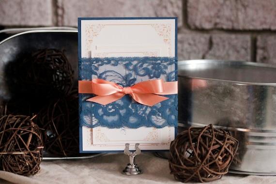 Navy And Peach Wedding Invitations: Items Similar To Navy Lace Wedding Invitation, Rustic