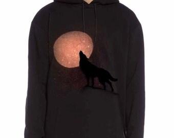Wolf Hoodie, Mens hoodie, howling, full moon , lone wolf, sweater, mens hoody, pagan, Hooded, gift for her,  black and orange.
