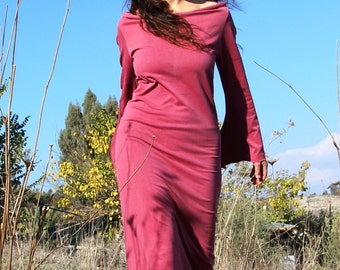 Dark red cotton dress, loose long dress, comfy clothing, loose cowl neck dress, casual autumn winter dress, comfy dress
